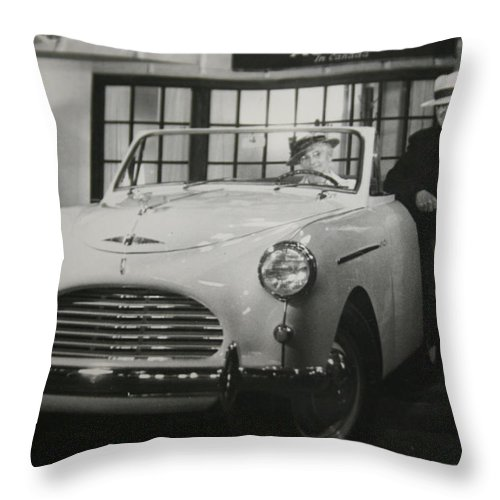 Men Man Classic Car Austin Car Show Black And White Photograph Throw Pillow featuring the photograph Good Fellas by Andrea Lawrence