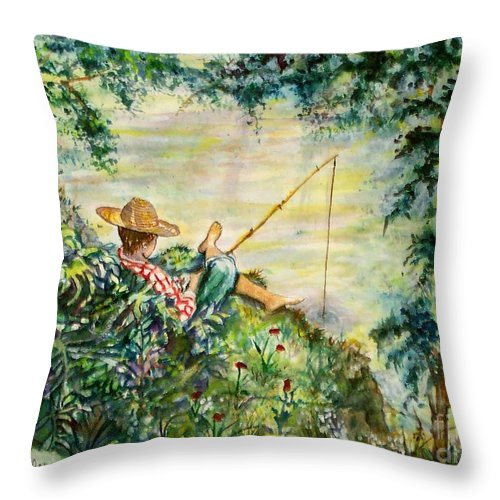 Landscape Throw Pillow featuring the painting Good Fishing by Norma Boeckler