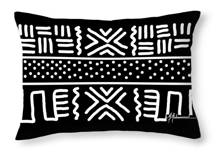 Black Throw Pillow featuring the tapestry - textile Good Fortune 4 by Marcella Muhammad