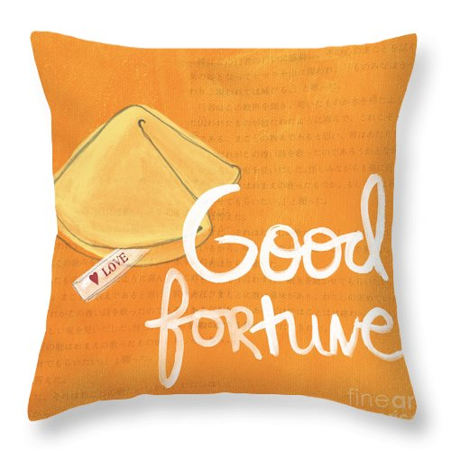 Fortune Throw Pillow featuring the mixed media Good Fortune by Linda Woods