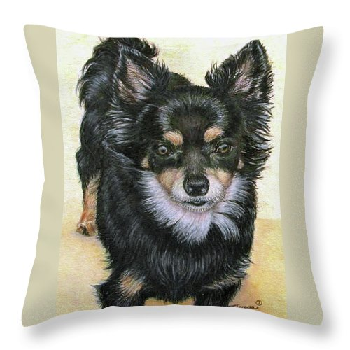 Fuqua Gallery-bev-artwork Throw Pillow featuring the drawing Good Golly Miss Molly by Beverly Fuqua