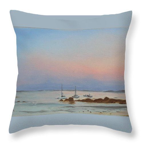 Seascape Throw Pillow featuring the painting Good Harbor by Lea Novak