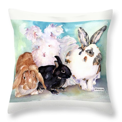 Animal Artwork Throw Pillow featuring the painting Good Hare Day by Pat Saunders-White