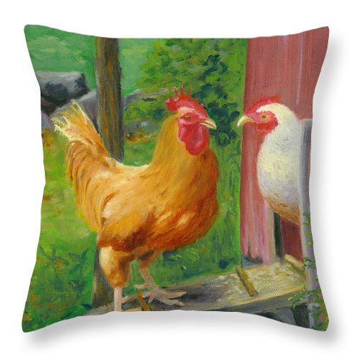 Landscape Throw Pillow featuring the painting Good Morning Dudley by Paula Emery