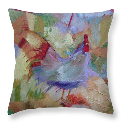 Chicken Paintings Throw Pillow featuring the painting Good Morning by Ginger Concepcion
