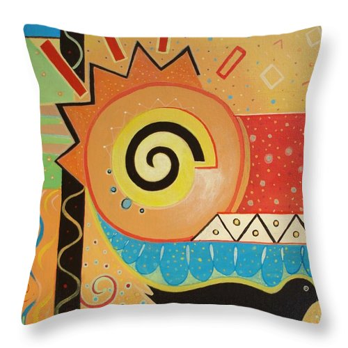 Rise And Shine Throw Pillow featuring the painting Good Morning by Helena Tiainen