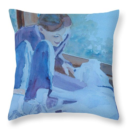 Girl Throw Pillow featuring the painting Good Morning Puppy by Jenny Armitage