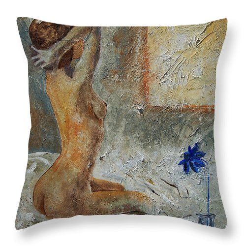 Nude Throw Pillow featuring the painting Good Morning Sunshine by Pol Ledent
