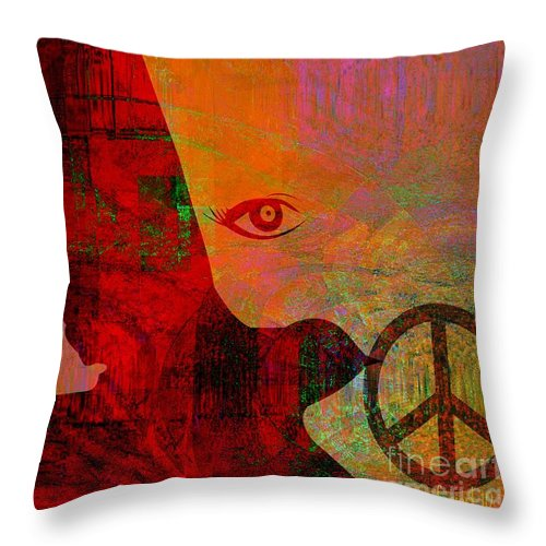 Fania Simon Throw Pillow featuring the mixed media Good News Finally by Fania Simon