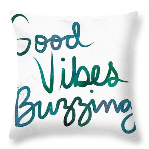 Good Vibes Throw Pillow featuring the painting Good Vibes Buzzing- Art by Linda Woods by Linda Woods