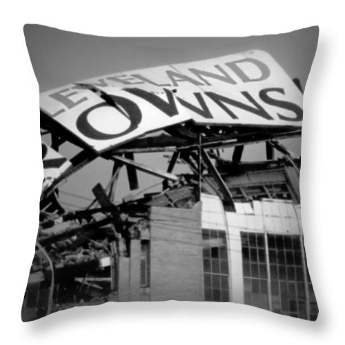 Cleveland Throw Pillow featuring the photograph Goodbye Cleveland Stadium by Kenneth Krolikowski