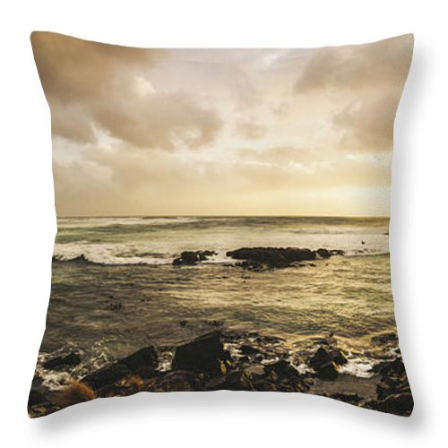 Beach Throw Pillow featuring the photograph Goodbye Sunshine by Jorgo Photography - Wall Art Gallery
