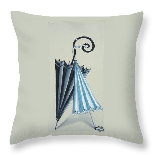 Umbrellas Throw Pillow featuring the painting Goog Morning by Olga Alexeeva
