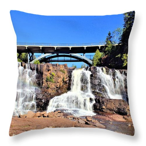 Two Harbors Throw Pillow featuring the photograph Gooseberry Falls 4 by Jimmy Ostgard