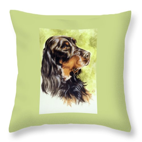Sporting Group Throw Pillow featuring the painting Gordon Setter by Barbara Keith