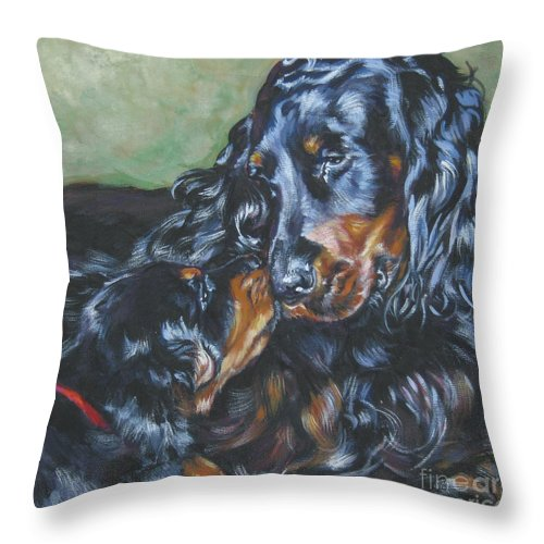 Gordon Setter Throw Pillow featuring the painting Gordon Setter Mom And Pup by Lee Ann Shepard