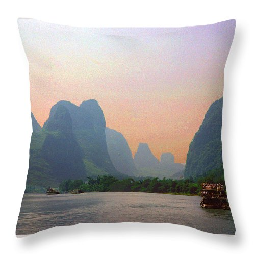 China Throw Pillow featuring the photograph Gorge Of The Li River by Marvin Wolf