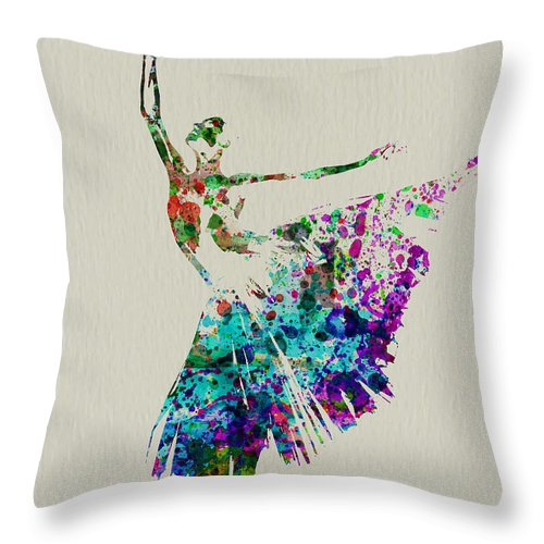 Throw Pillow featuring the painting Gorgeous Ballerina by Naxart Studio