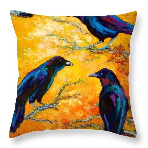 Crows Throw Pillow featuring the painting Gossip Column II by Marion Rose