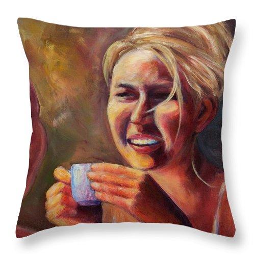 Girl Throw Pillow featuring the painting Gossip by Jason Reinhardt