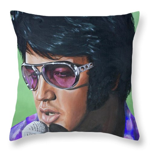 Elvis Throw Pillow featuring the painting Got My Mojo Working by Rob De Vries