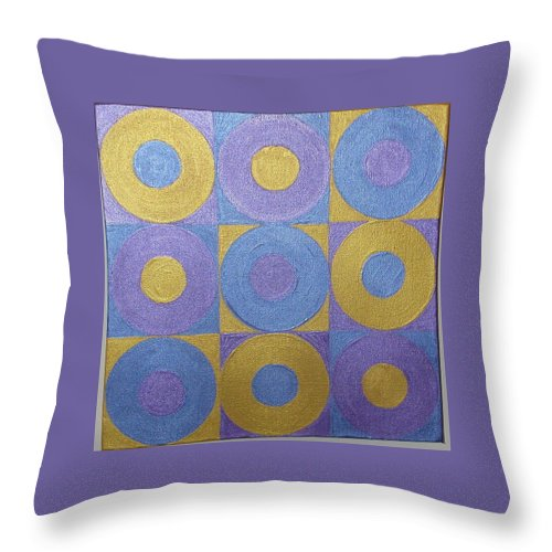 Bkue Throw Pillow featuring the painting Got The Brass Blues by Gay Dallek