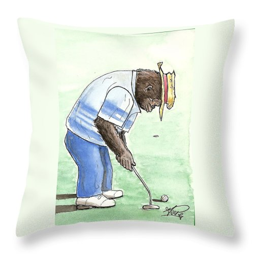 Golf Throw Pillow featuring the painting Got You Now by George I Perez