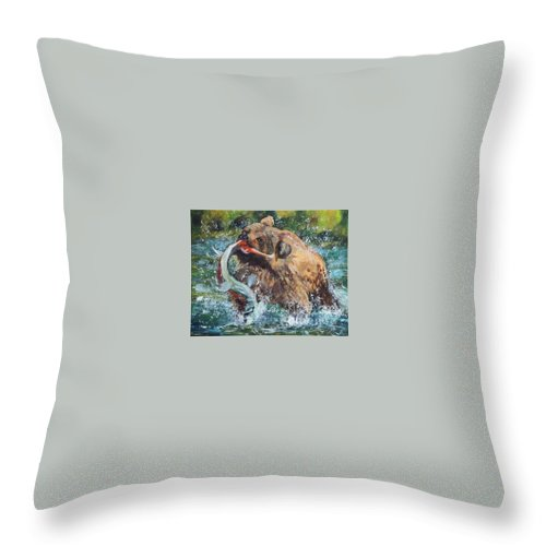 Bear Throw Pillow featuring the painting Gotcha by Frankie Picasso