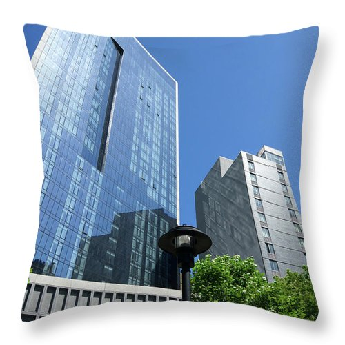 Building Throw Pillow featuring the photograph Gotham Center Apartments by Cate Franklyn