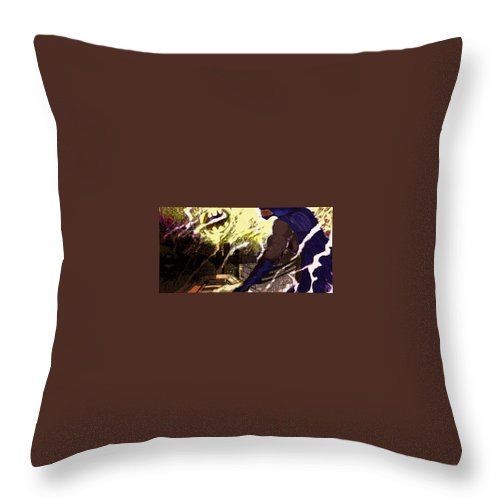 Superhero Art Throw Pillow featuring the painting Gotham Nights by Jazzboy
