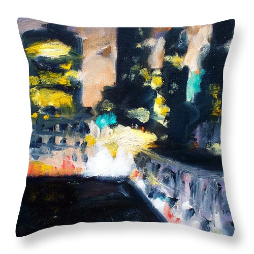 Des Moines Throw Pillow featuring the painting Gotham by Robert Reeves