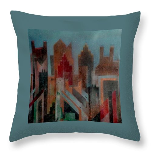 Abstract Throw Pillow featuring the painting Gothem City by Anita Burgermeister