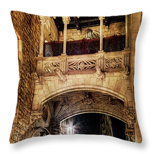 Gothic Quarter Throw Pillow featuring the photograph Gothic Bridge At Night In Barcelona 2 by Weston Westmoreland