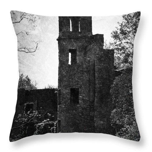 Irish Throw Pillow featuring the photograph Gothic Tower at Blarney Castle Ireland by Teresa Mucha