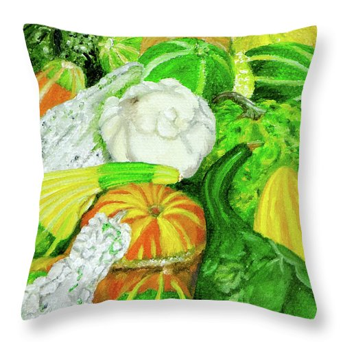 Seed Packet Throw Pillow featuring the painting Gourds Seed Packet No Lettering by Vicki VanDeBerghe