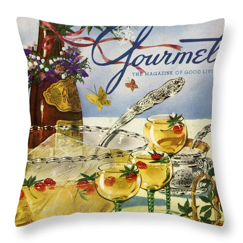 Illustration Throw Pillow featuring the photograph Gourmet Cover Featuring A Bowl And Glasses by Henry Stahlhut