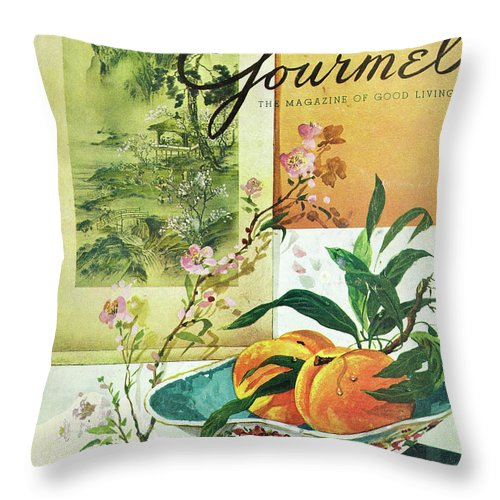Food Throw Pillow featuring the photograph Gourmet Cover Featuring A Bowl Of Peaches by Henry Stahlhut