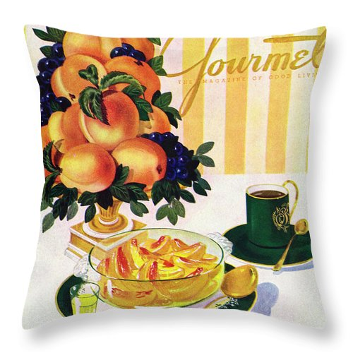 Illustration Throw Pillow featuring the photograph Gourmet Cover Featuring A Centerpiece Of Peaches by Henry Stahlhut