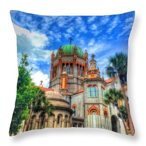 Church Throw Pillow featuring the photograph Flagler Memorial Presbyterian Church by Debbi Granruth