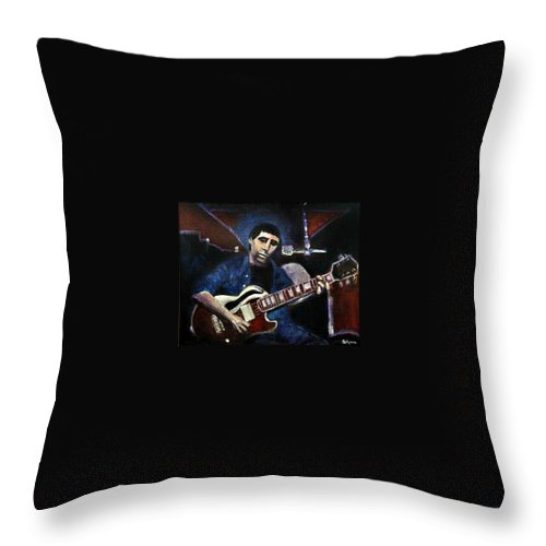 Shining Guitar Throw Pillow featuring the painting Graceland Tribute To Paul Simon by Seth Weaver