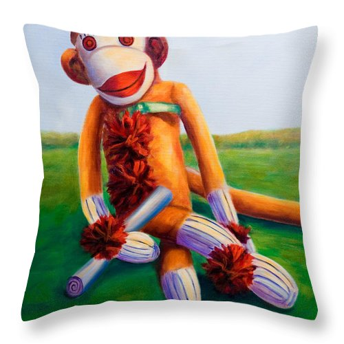Graduation Throw Pillow featuring the painting Graduate Made Of Sockies by Shannon Grissom