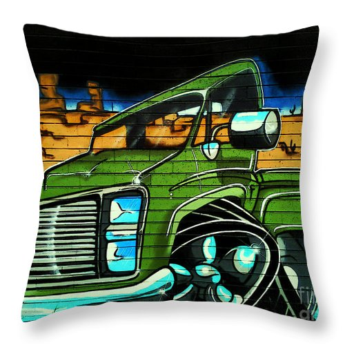 Graffiti Throw Pillow featuring the photograph Graffiti 10 by Ben Yassa