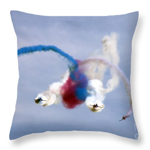 Red Arrows Throw Pillow featuring the photograph Graffiti by Angel Ciesniarska