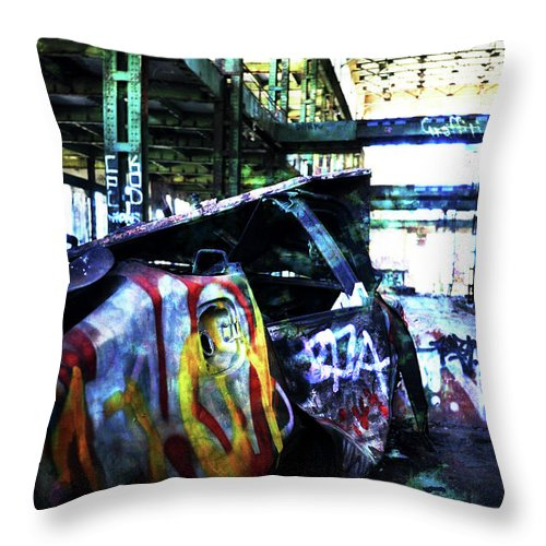 Graffiti Throw Pillow featuring the photograph Graffiti Car by Phill Petrovic