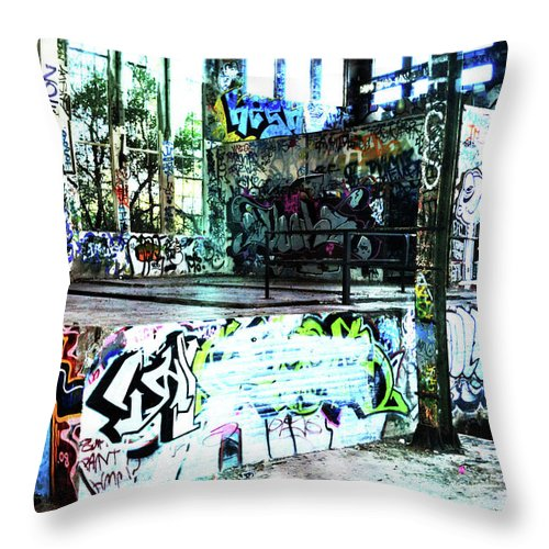 Graffiti Throw Pillow featuring the photograph Graffiti by Phill Petrovic