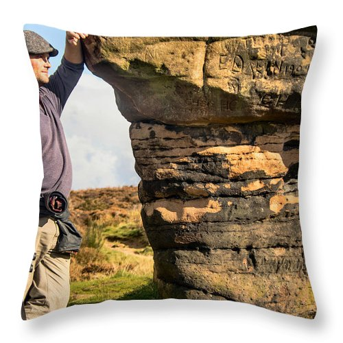 England - Stone - Graffiti - Moor - Rock Throw Pillow featuring the photograph Graffitti by Chris Horsnell