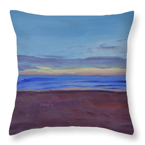 Beach Throw Pillow featuring the painting Graham's Beach by Mary Chant