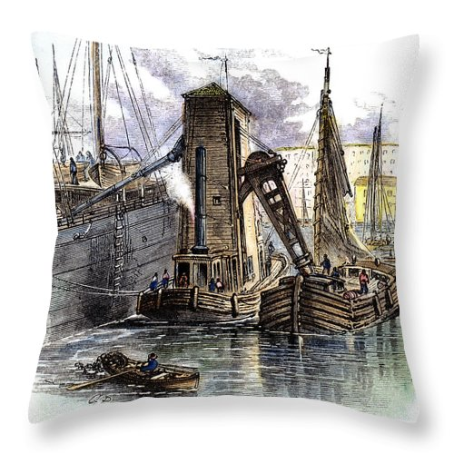 1877 Throw Pillow featuring the photograph Grain Elevator, 1877 by Granger