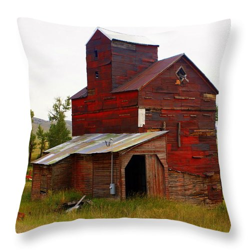 Grane Elevator Throw Pillow featuring the photograph Grain Elevator by Marty Koch