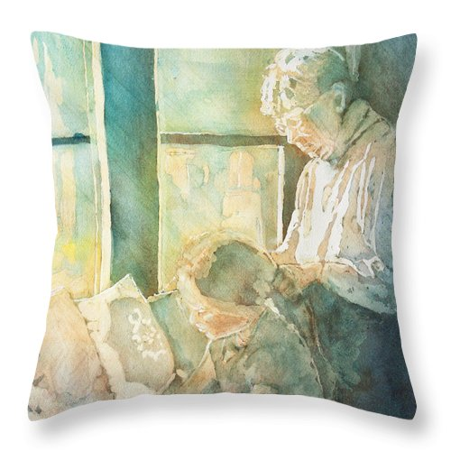 Family Throw Pillow featuring the painting Gramdma Braids by Jenny Armitage